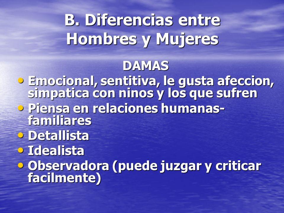 B. Diferencias entre Hombres y Mujeres