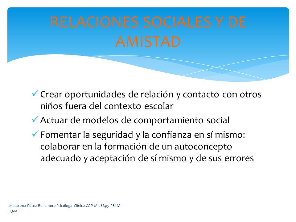 RELACIONES SOCIALES Y DE AMISTAD