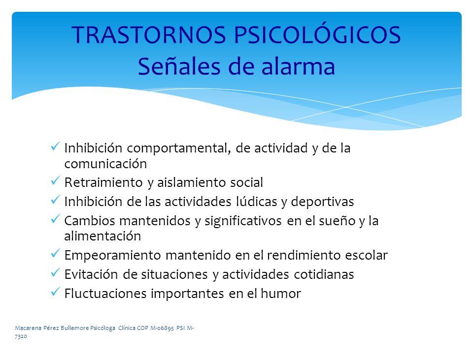 TRASTORNOS PSICOLÓGICOS Señales de alarma
