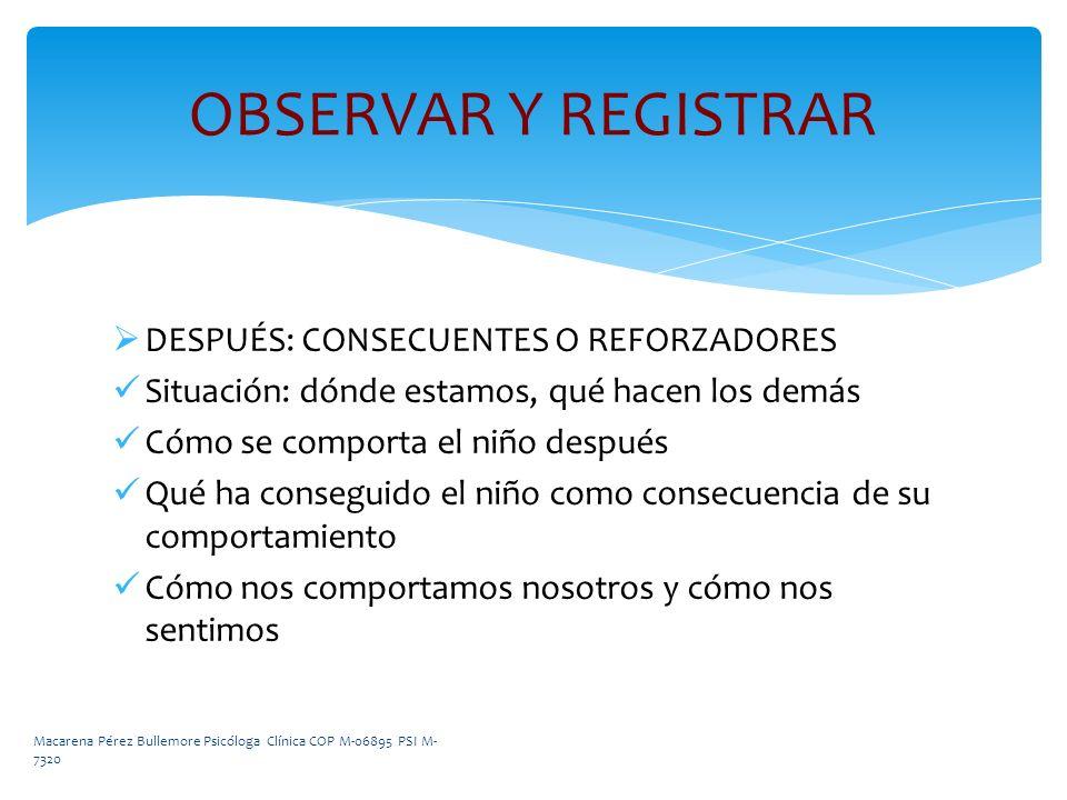 OBSERVAR Y REGISTRAR DESPUÉS: CONSECUENTES O REFORZADORES
