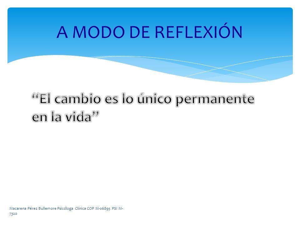 A MODO DE REFLEXIÓN El cambio es lo único permanente en la vida