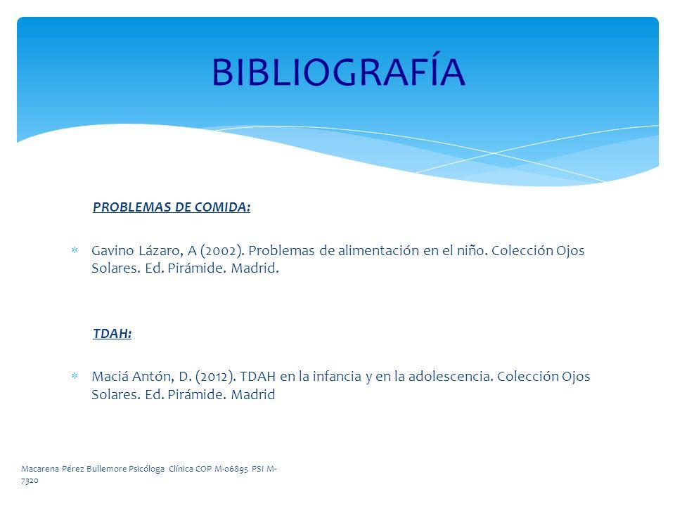 BIBLIOGRAFÍA PROBLEMAS DE COMIDA: