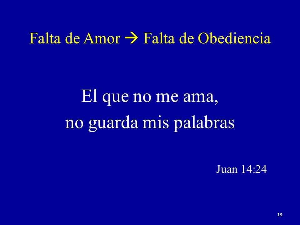 Falta de Amor  Falta de Obediencia