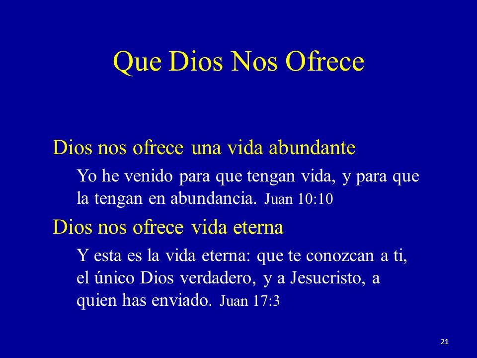 Que Dios Nos Ofrece Dios nos ofrece una vida abundante
