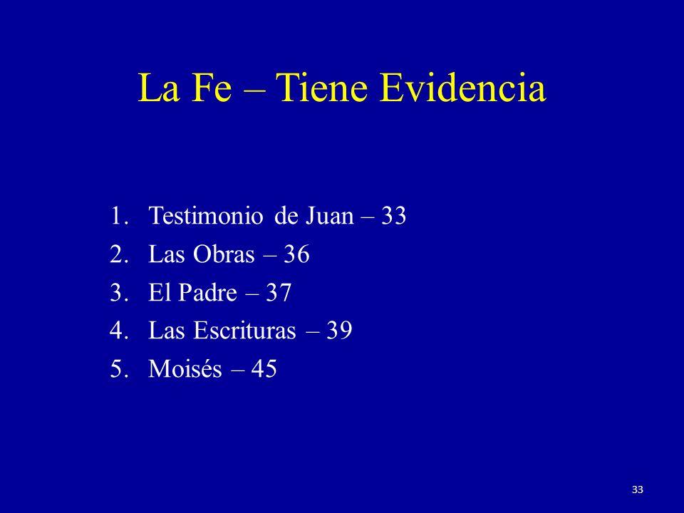 La Fe – Tiene Evidencia Testimonio de Juan – 33 Las Obras – 36