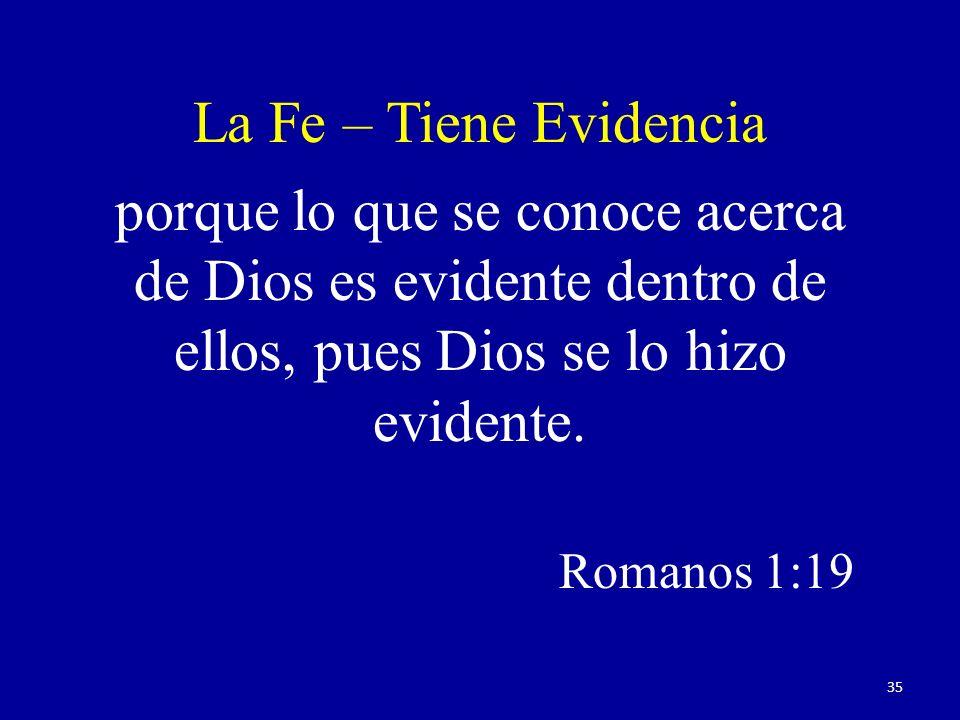 La Fe – Tiene Evidencia porque lo que se conoce acerca de Dios es evidente dentro de ellos, pues Dios se lo hizo evidente.