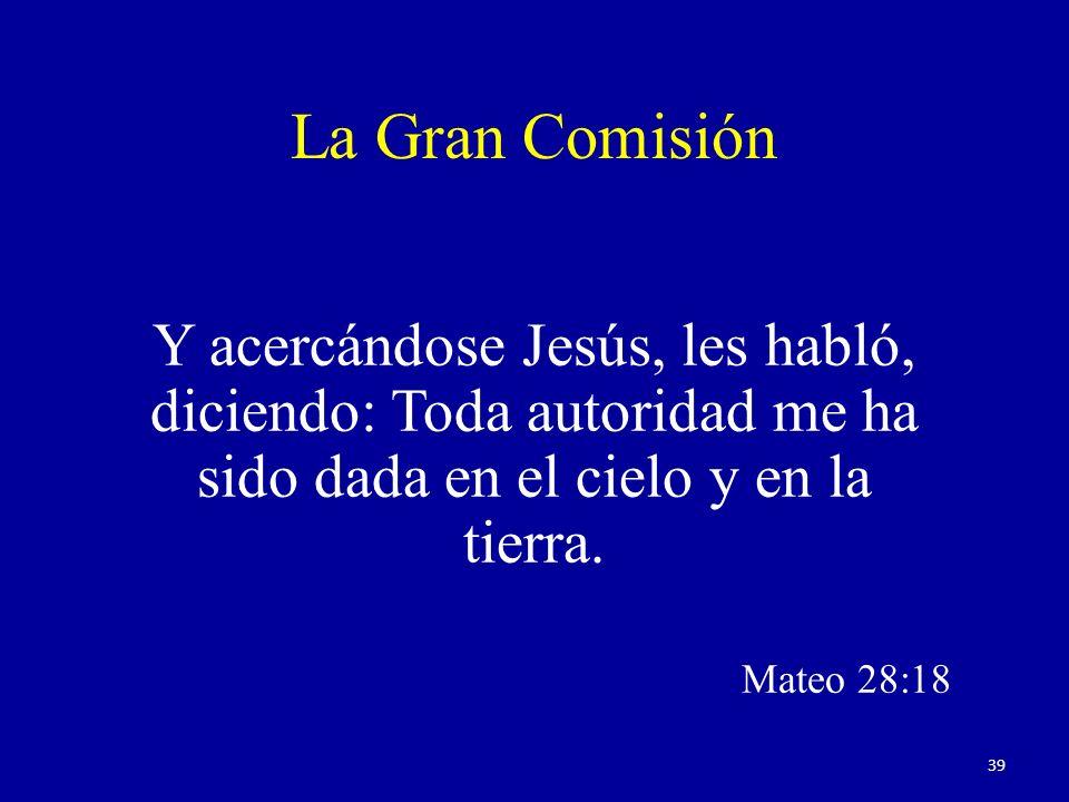 La Gran Comisión Y acercándose Jesús, les habló, diciendo: Toda autoridad me ha sido dada en el cielo y en la tierra.