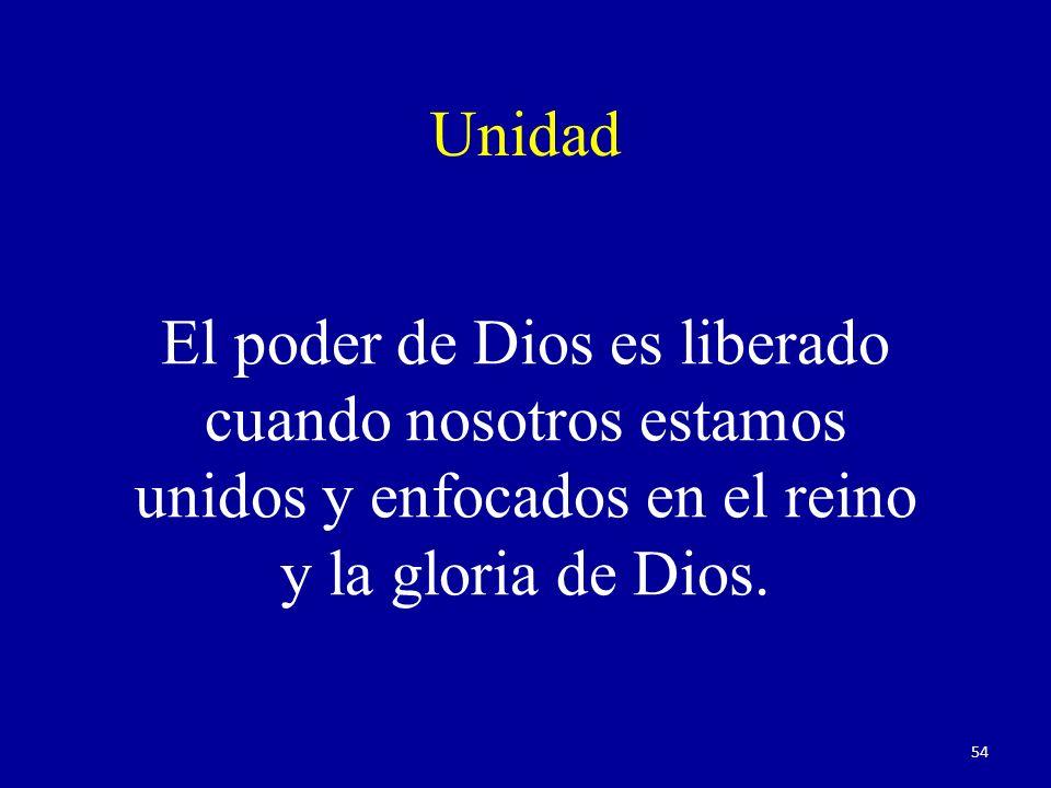 Unidad El poder de Dios es liberado cuando nosotros estamos unidos y enfocados en el reino y la gloria de Dios.