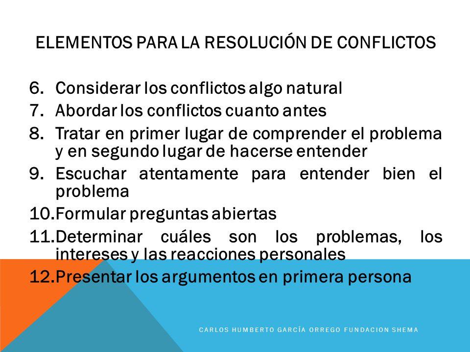 ELEMENTOS PARA LA RESOLUCIÓN DE CONFLICTOS