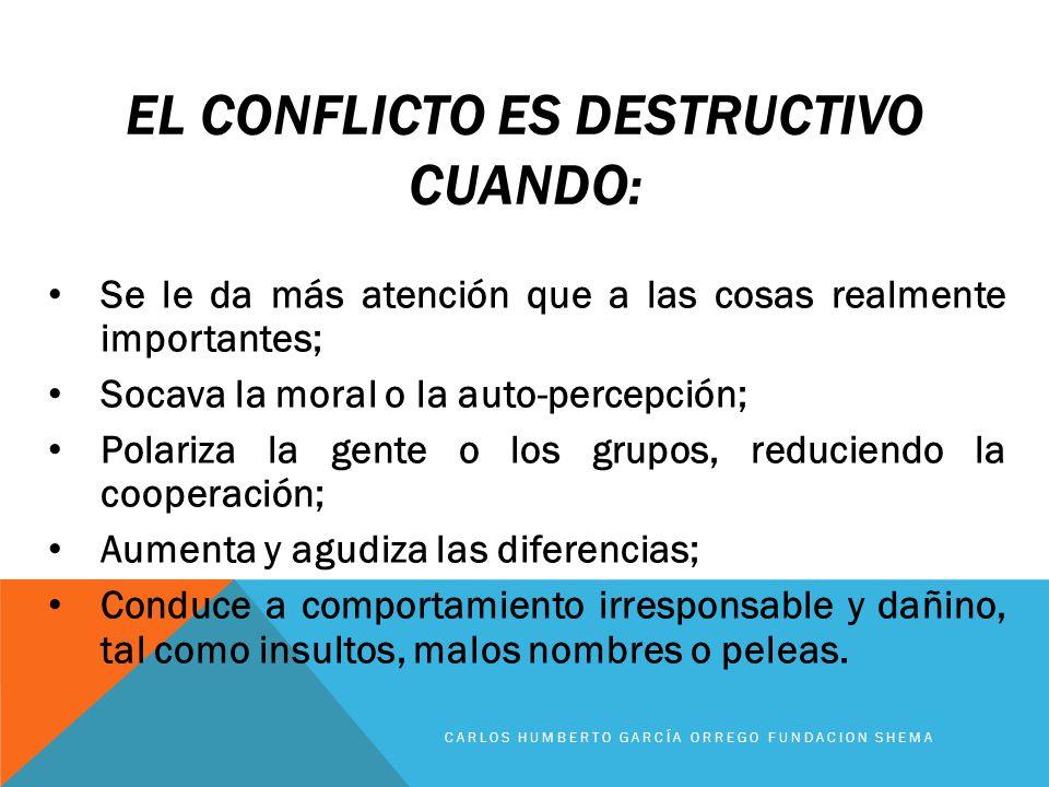 El conflicto es destructivo cuando: