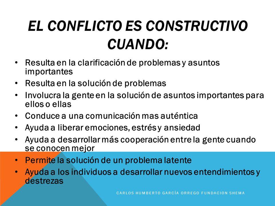 El conflicto es constructivo cuando: