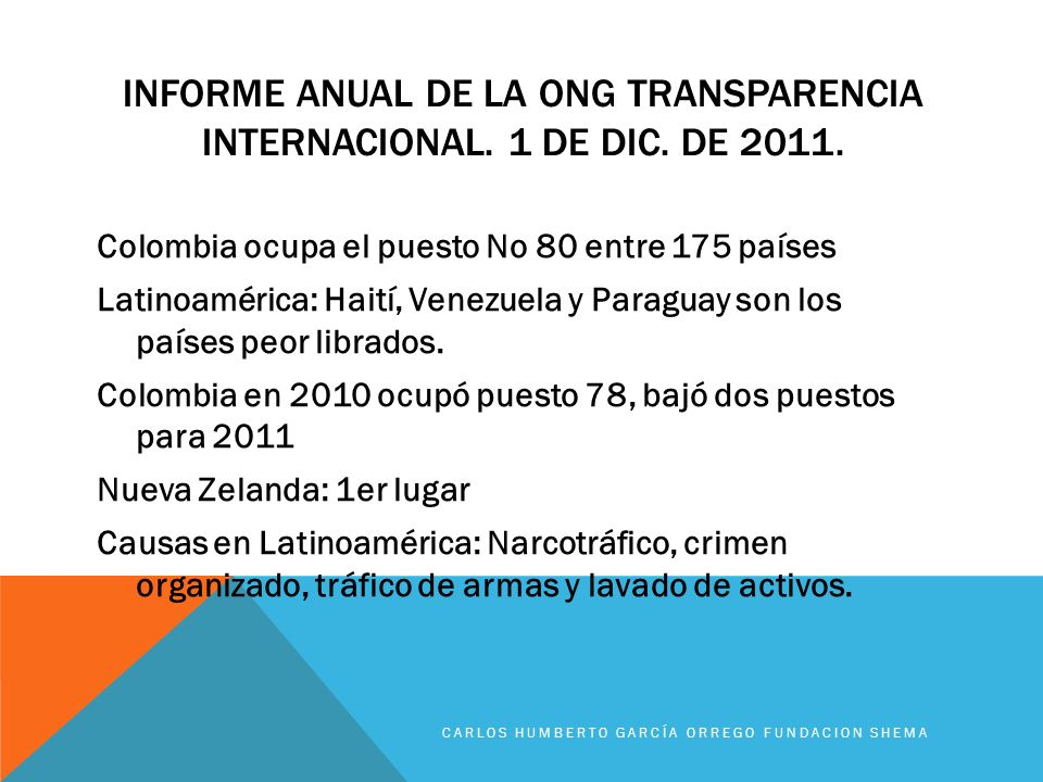 Informe anual de la ong transparencia internacional. 1 de dic. De 2011.