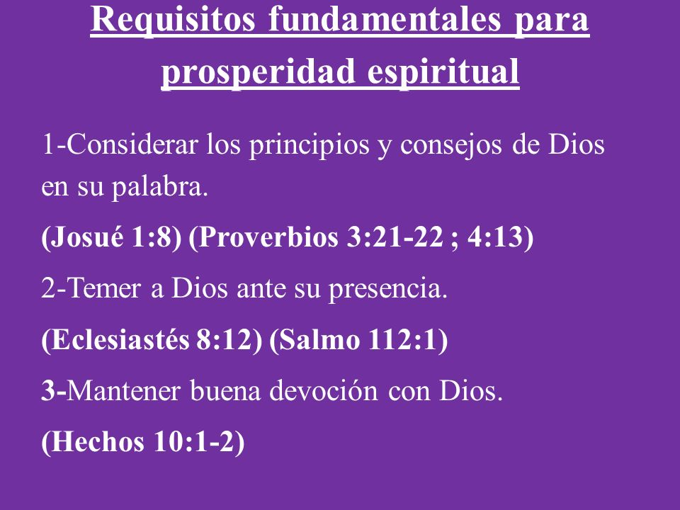 Requisitos fundamentales para prosperidad espiritual