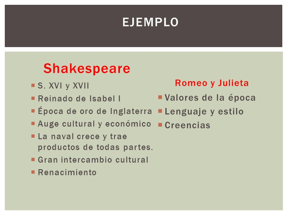 Shakespeare Ejemplo Romeo y Julieta Valores de la época
