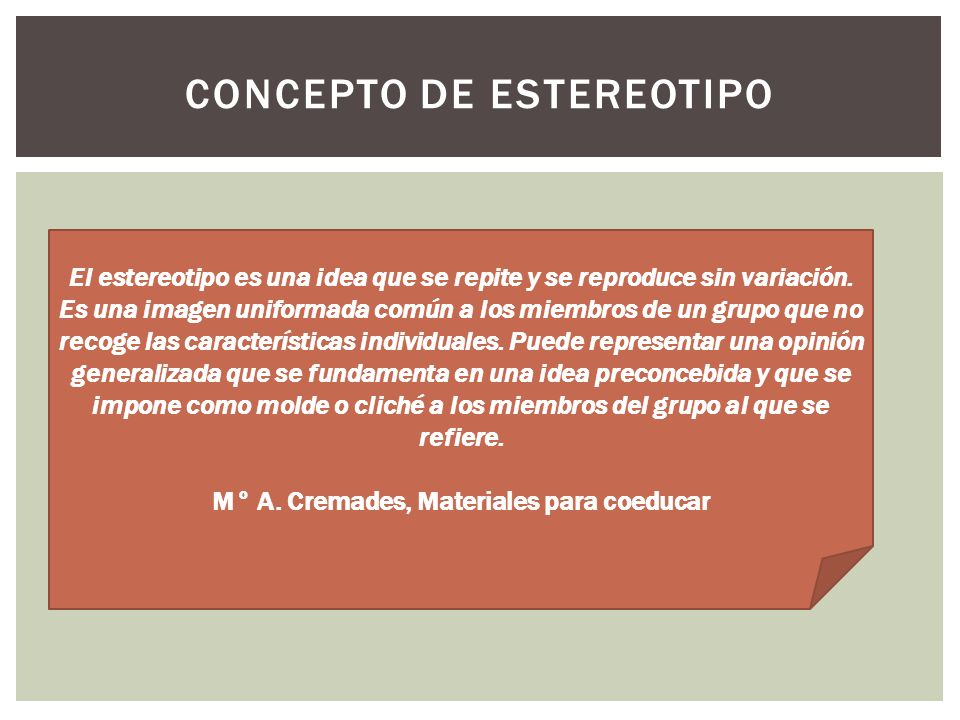 Concepto de ESTEREOTIPO