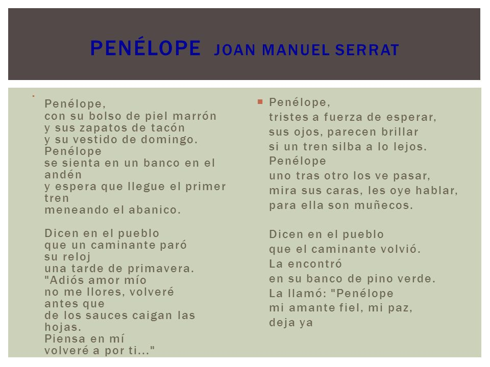 PENÉLOPE Joan Manuel Serrat