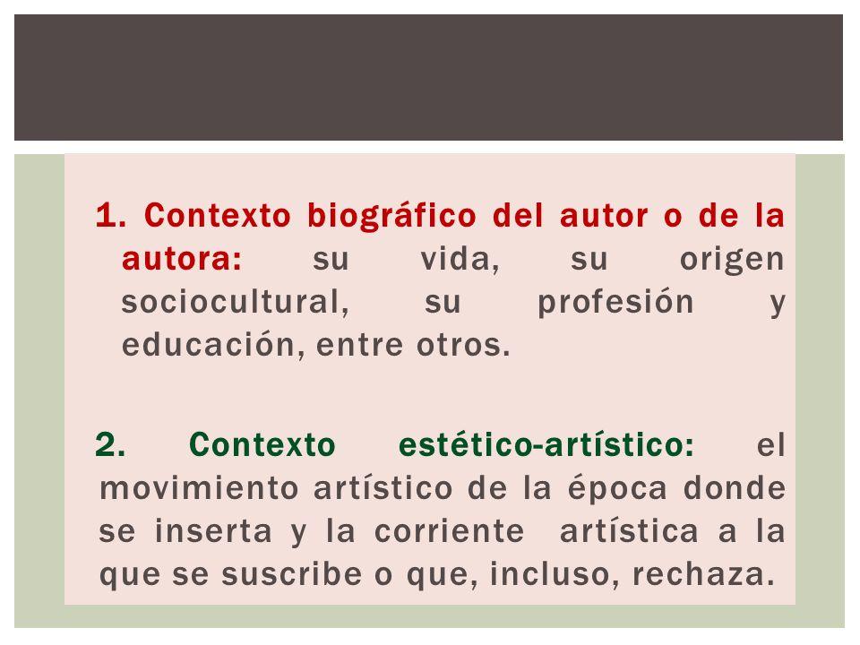 1. Contexto biográfico del autor o de la autora: su vida, su origen sociocultural, su profesión y educación, entre otros.