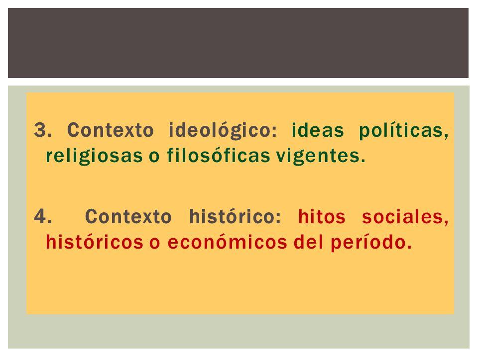 3. Contexto ideológico: ideas políticas, religiosas o filosóficas vigentes.