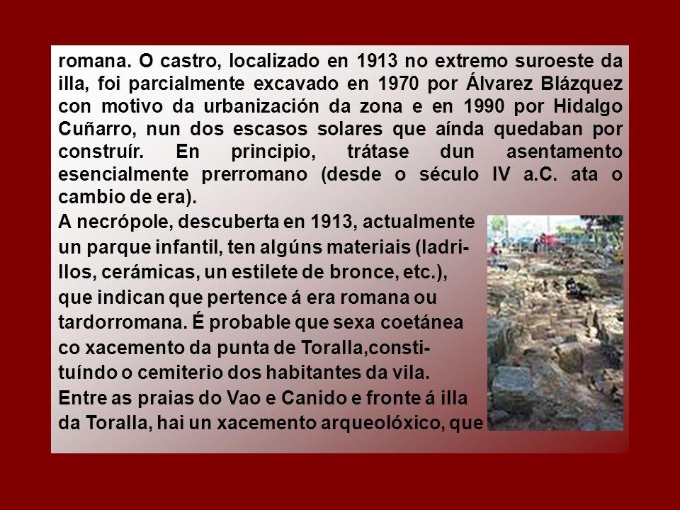 romana. O castro, localizado en 1913 no extremo suroeste da illa, foi parcialmente excavado en 1970 por Álvarez Blázquez con motivo da urbanización da zona e en 1990 por Hidalgo Cuñarro, nun dos escasos solares que aínda quedaban por construír. En principio, trátase dun asentamento esencialmente prerromano (desde o século IV a.C. ata o cambio de era).