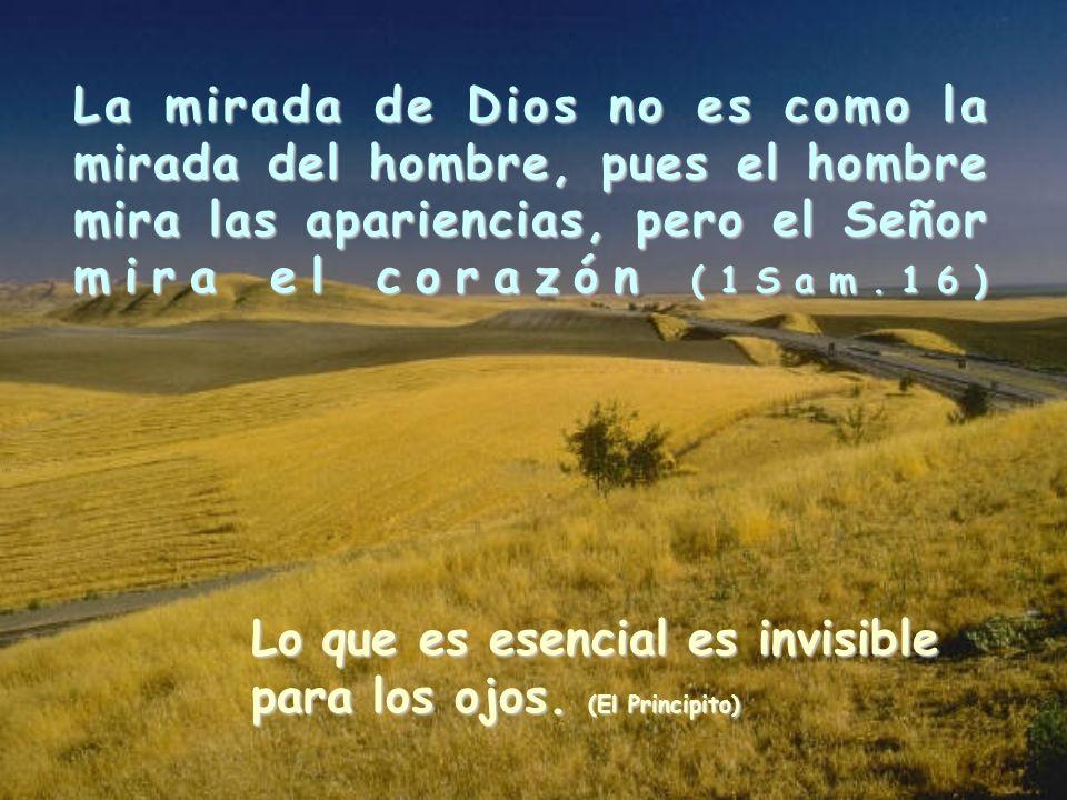 La mirada de Dios no es como la mirada del hombre, pues el hombre mira las apariencias, pero el Señor mira el corazón (1Sam.16)