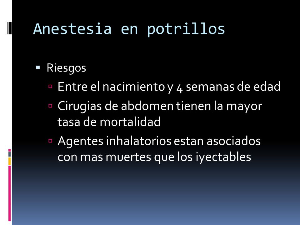 Anestesia en potrillos
