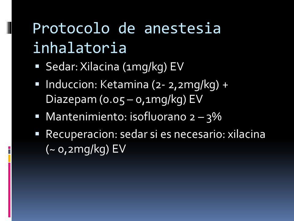 Protocolo de anestesia inhalatoria
