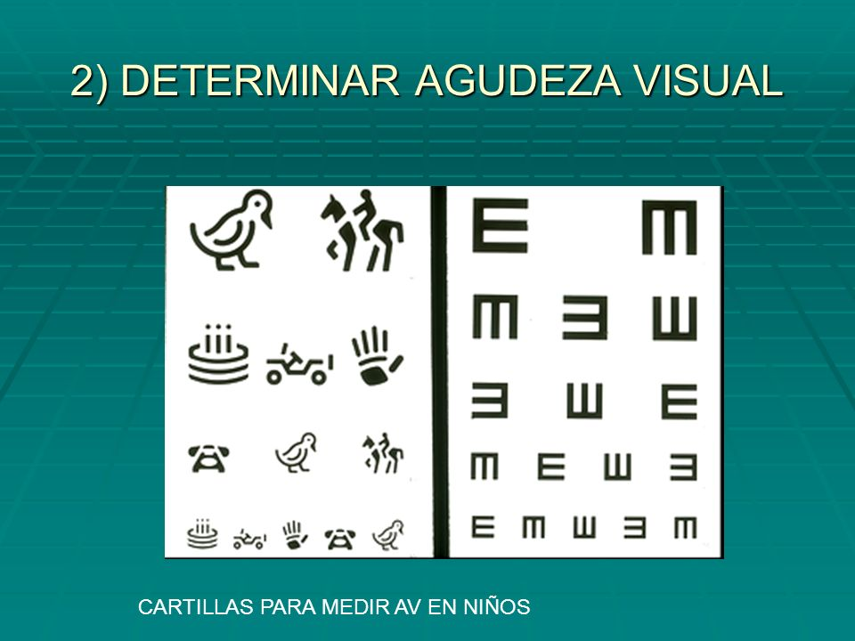 2) DETERMINAR AGUDEZA VISUAL