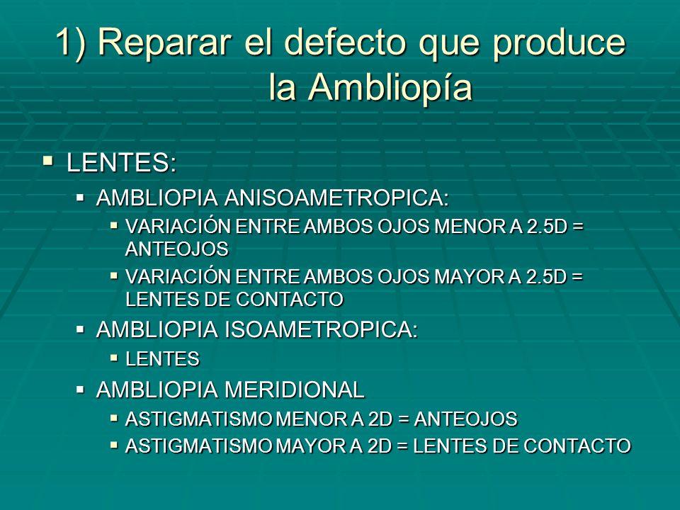 1) Reparar el defecto que produce la Ambliopía