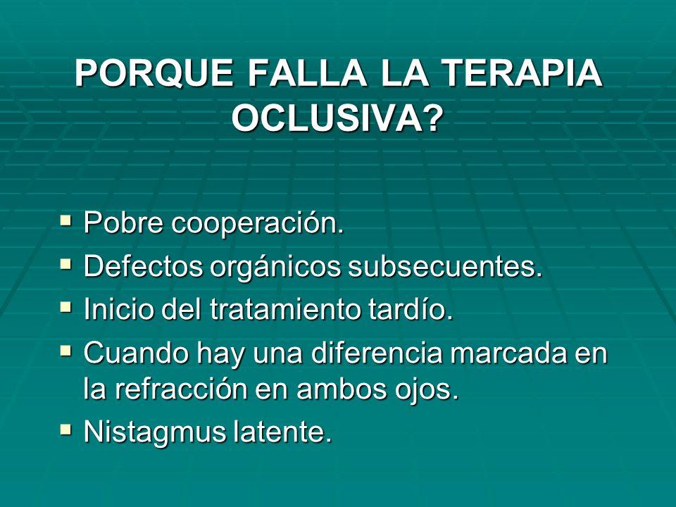 PORQUE FALLA LA TERAPIA OCLUSIVA