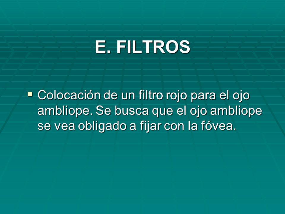 E. FILTROS Colocación de un filtro rojo para el ojo ambliope.