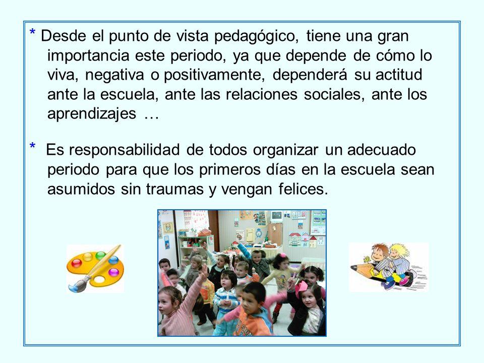 * Desde el punto de vista pedagógico, tiene una gran importancia este periodo, ya que depende de cómo lo viva, negativa o positivamente, dependerá su actitud ante la escuela, ante las relaciones sociales, ante los aprendizajes …