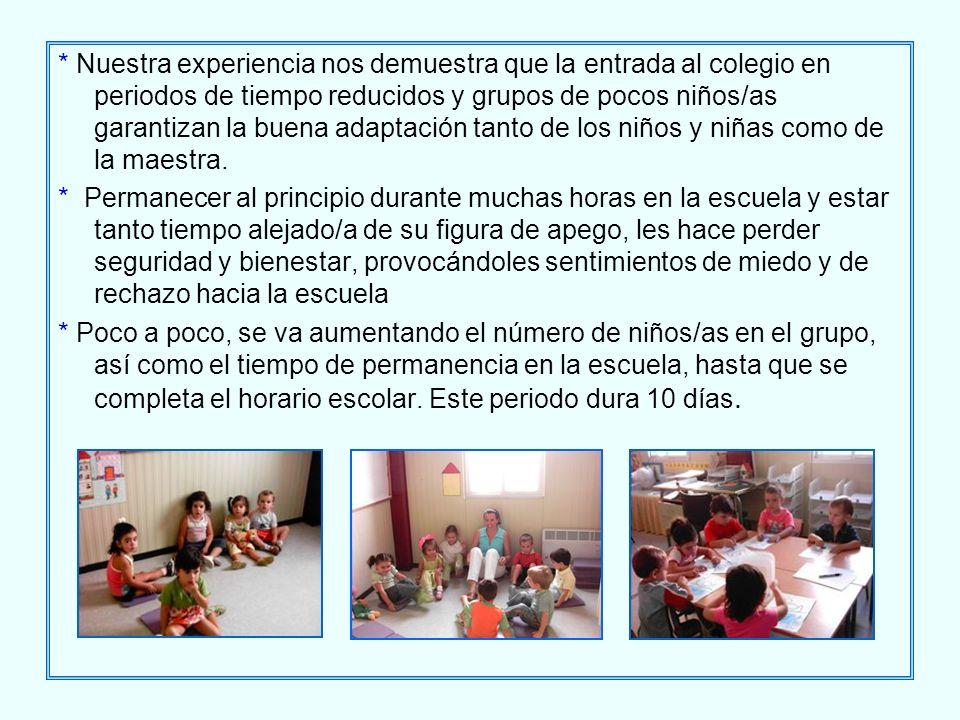 * Nuestra experiencia nos demuestra que la entrada al colegio en periodos de tiempo reducidos y grupos de pocos niños/as garantizan la buena adaptación tanto de los niños y niñas como de la maestra.