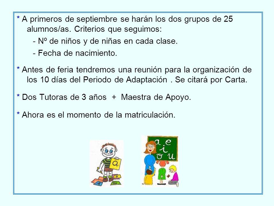 A primeros de septiembre se harán los dos grupos de 25 alumnos/as