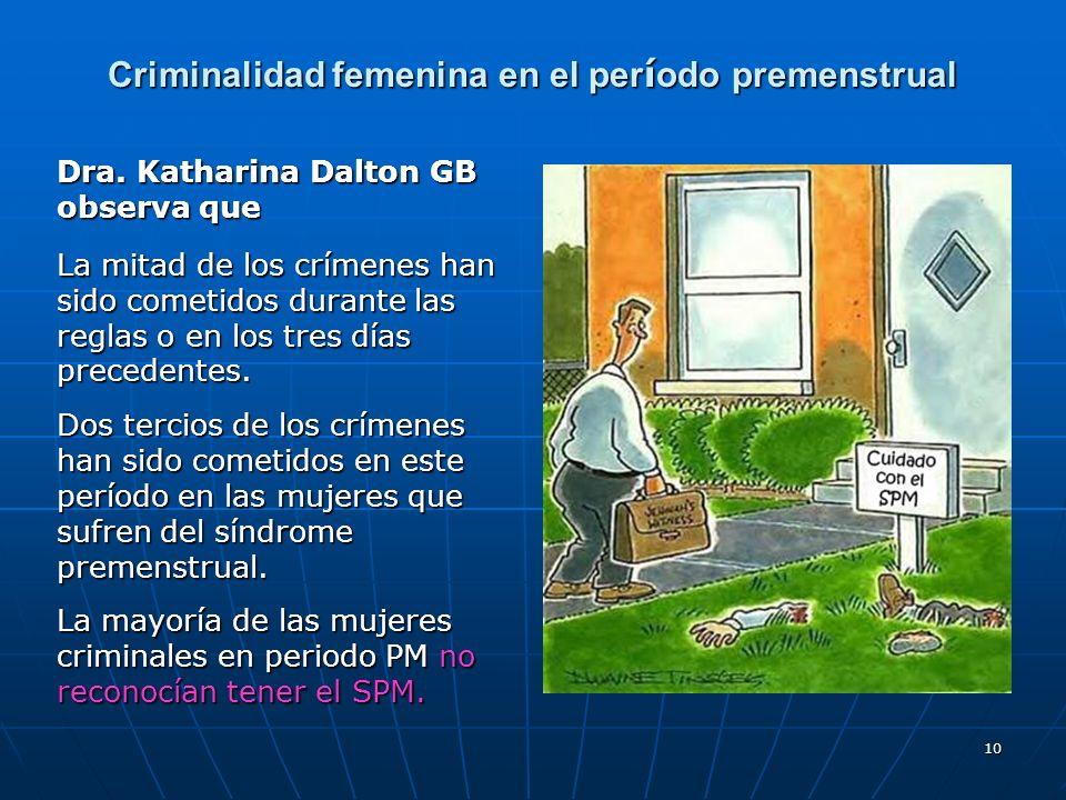 Criminalidad femenina en el período premenstrual