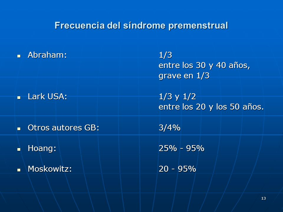 Frecuencia del síndrome premenstrual