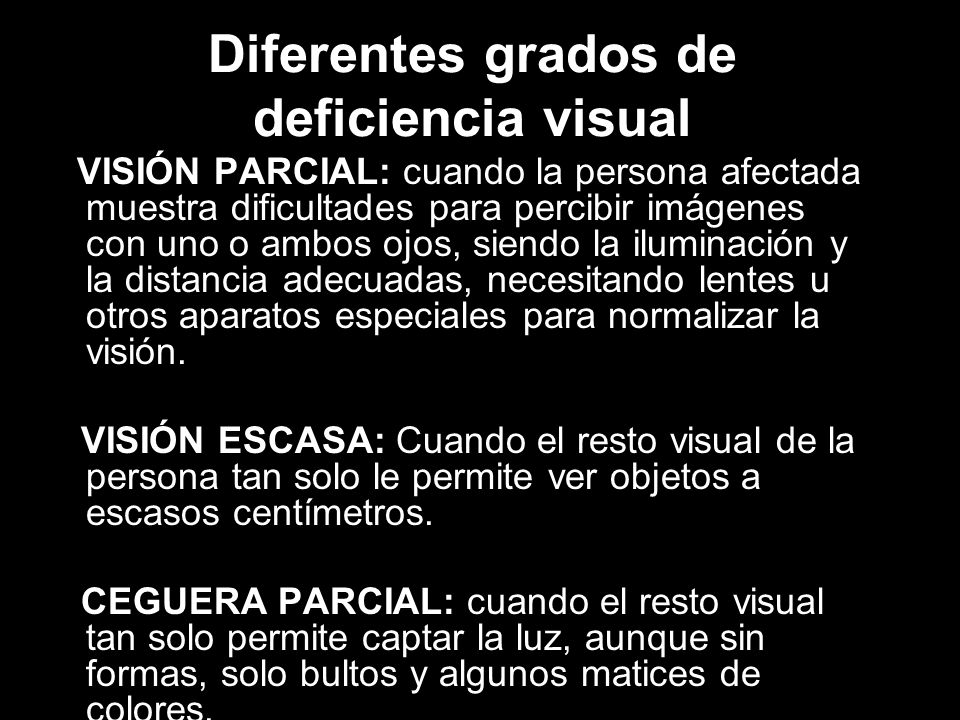Diferentes grados de deficiencia visual