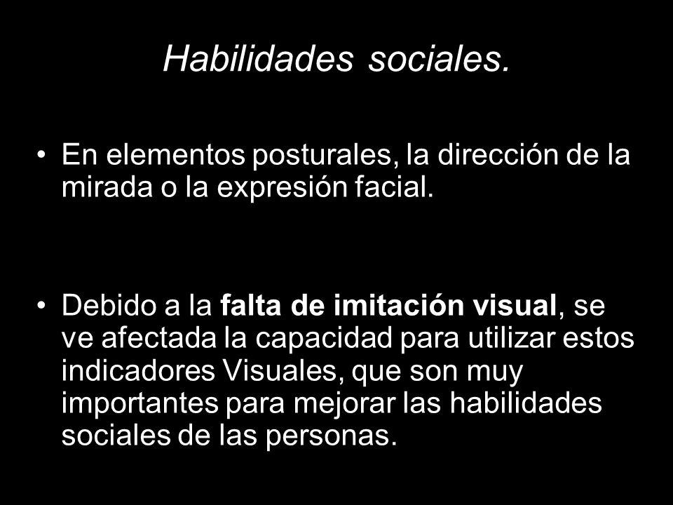 Habilidades sociales. En elementos posturales, la dirección de la mirada o la expresión facial.