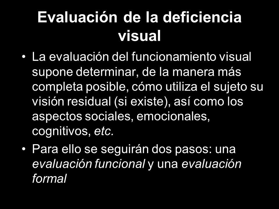Evaluación de la deficiencia visual