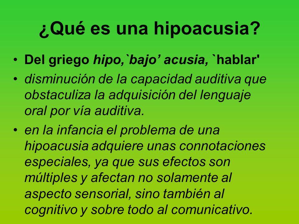 ¿Qué es una hipoacusia Del griego hipo,`bajo' acusia, `hablar