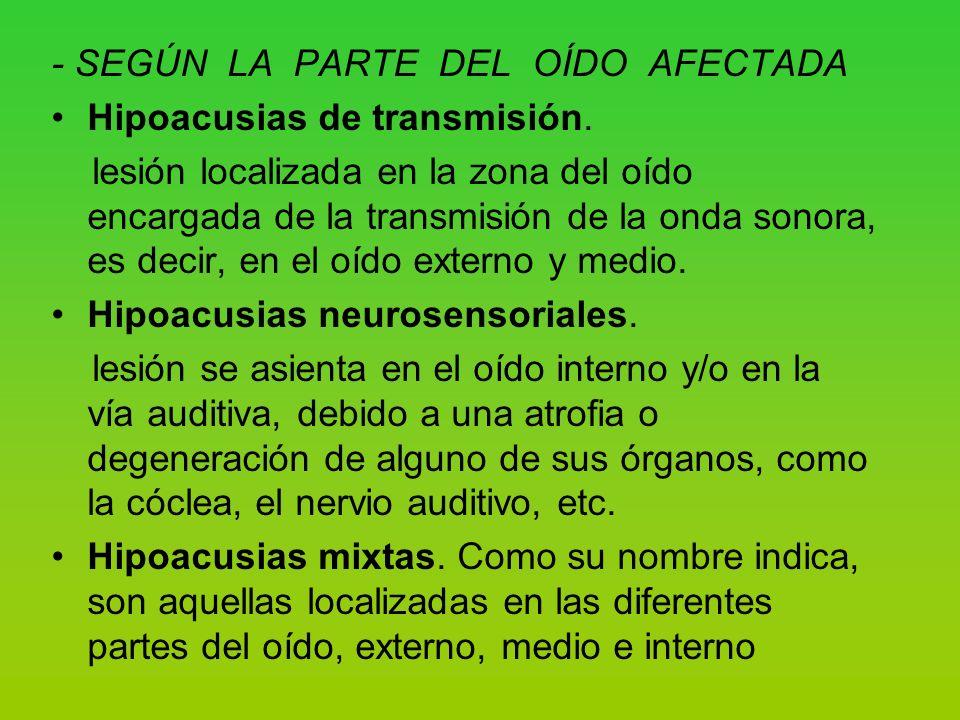 - SEGÚN LA PARTE DEL OÍDO AFECTADA