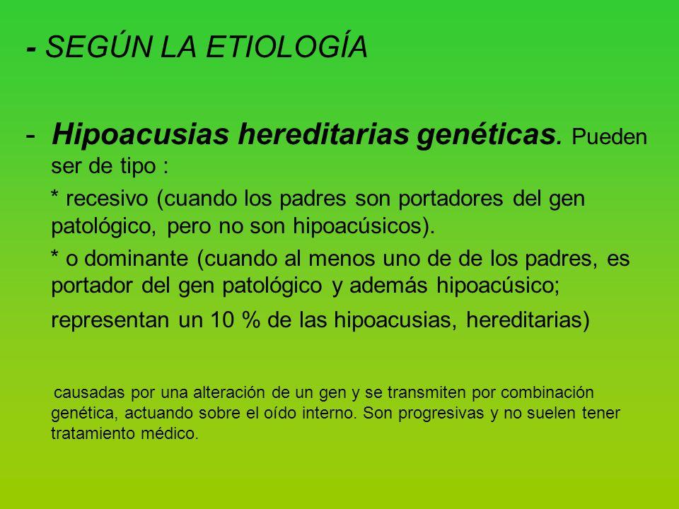 Hipoacusias hereditarias genéticas. Pueden ser de tipo :