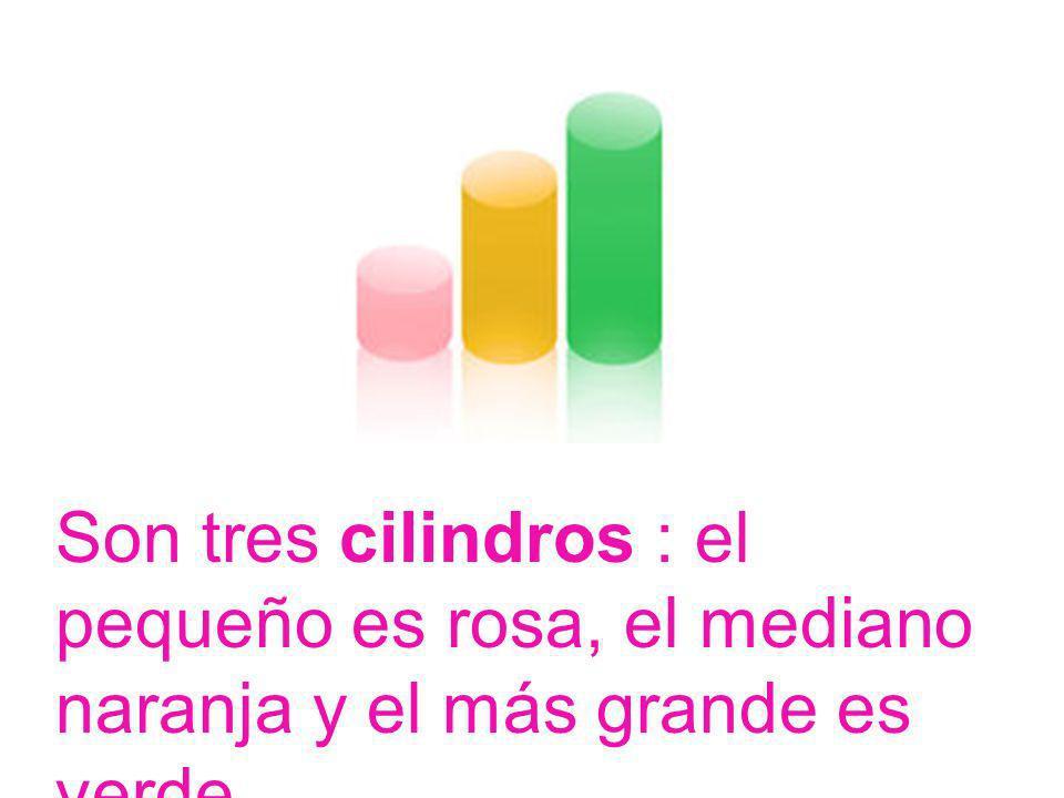 Son tres cilindros : el pequeño es rosa, el mediano naranja y el más grande es verde