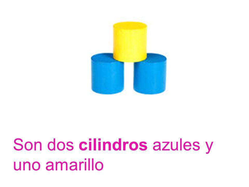 Son dos cilindros azules y uno amarillo