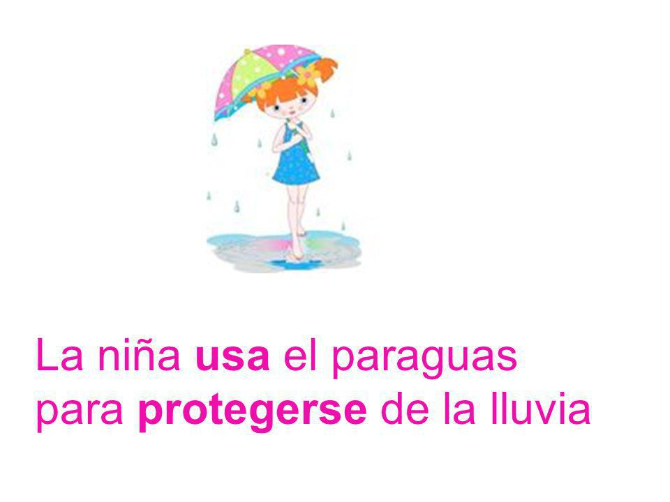 La niña usa el paraguas para protegerse de la lluvia