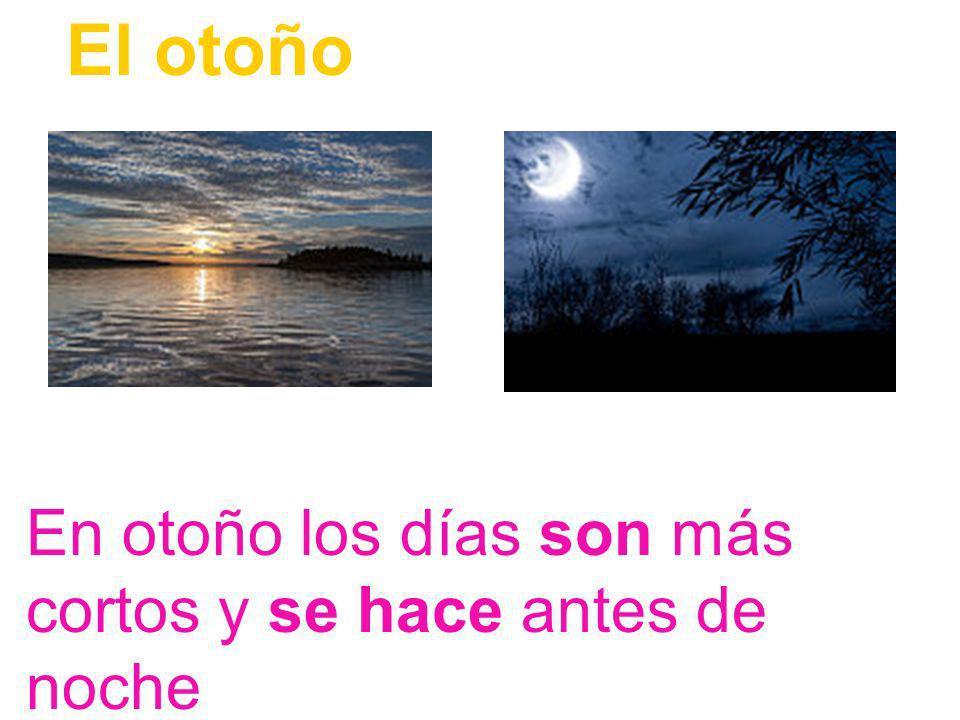 El otoño En otoño los días son más cortos y se hace antes de noche