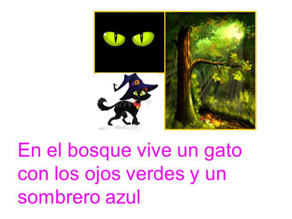 En el bosque vive un gato con los ojos verdes y un sombrero azul