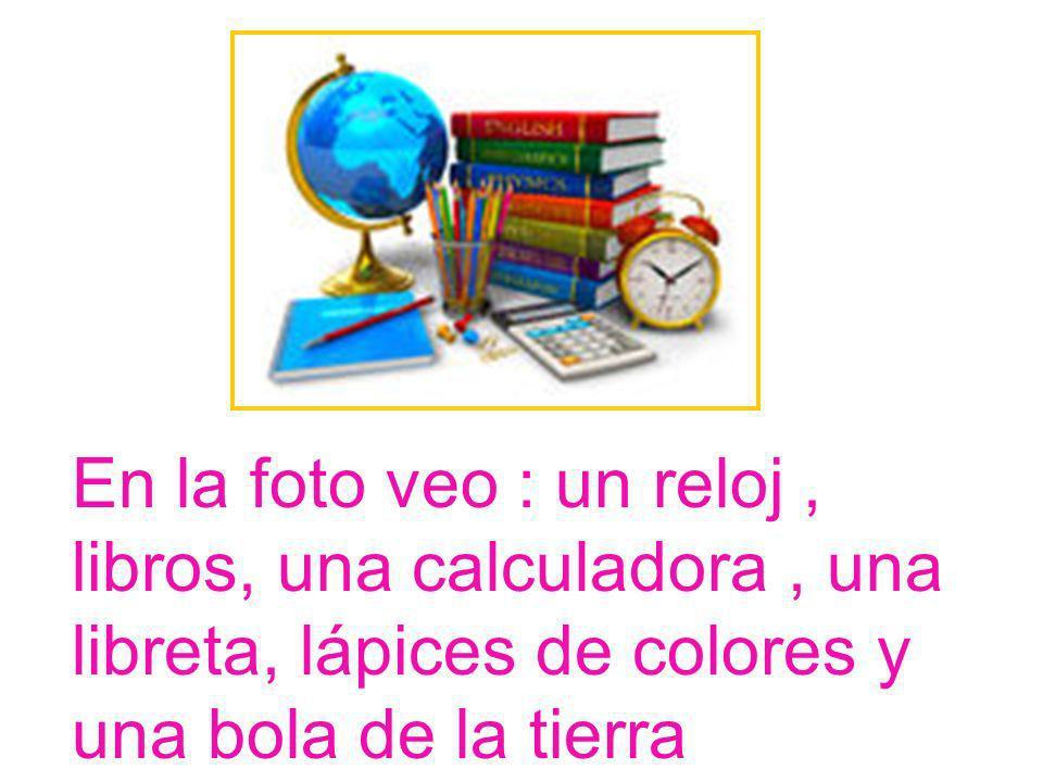 En la foto veo : un reloj , libros, una calculadora , una libreta, lápices de colores y una bola de la tierra