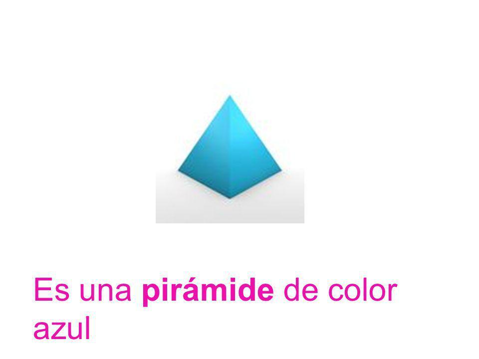 Es una pirámide de color azul