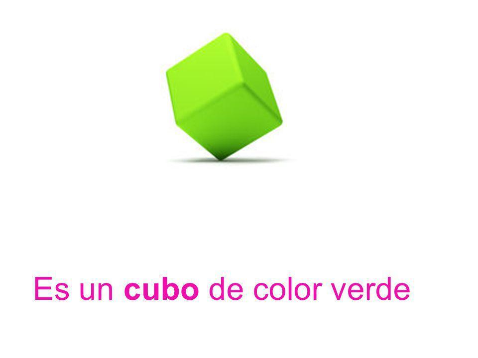 Es un cubo de color verde