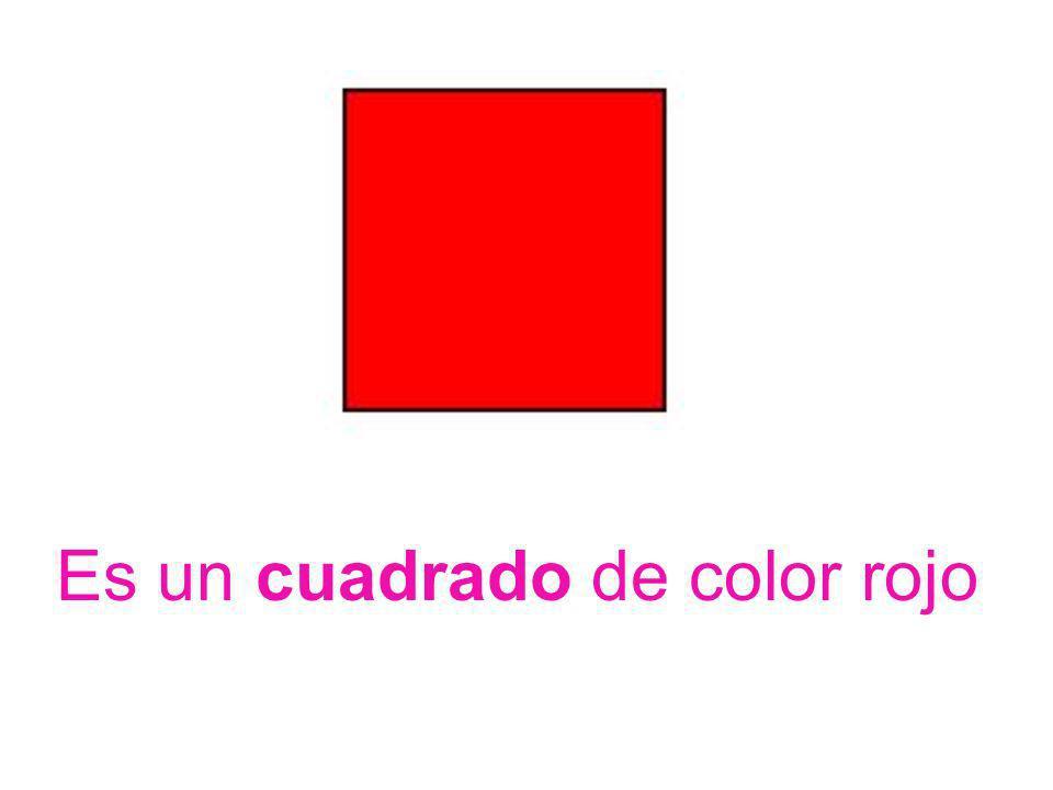 Es un cuadrado de color rojo